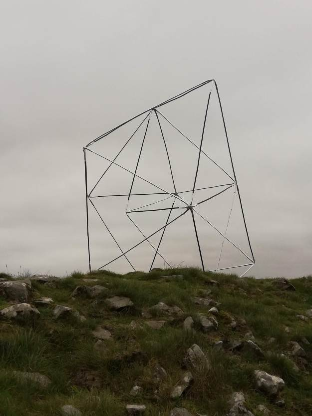 Towards super connection, modular sculptural system: bamboo, aluminium, hydro pipe, steel fixings, dimensions variable, installed at Loughcrew, neolithic necropolis, 2020